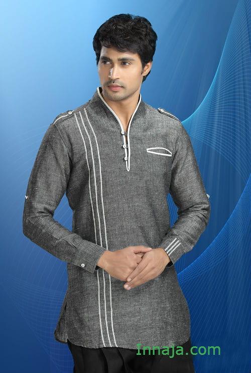 Męska koszula indyjska lniano bawełniana w popielu Anna Samol  8TpBS